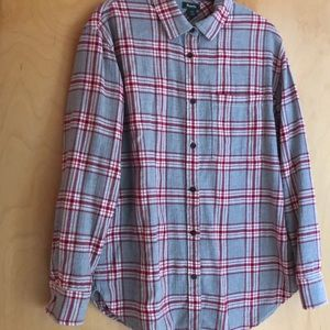 Roots gray red cream plaid flannel shirt Small